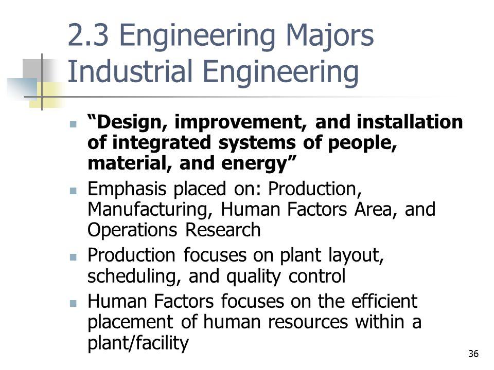 2.3 Engineering Majors Industrial Engineering