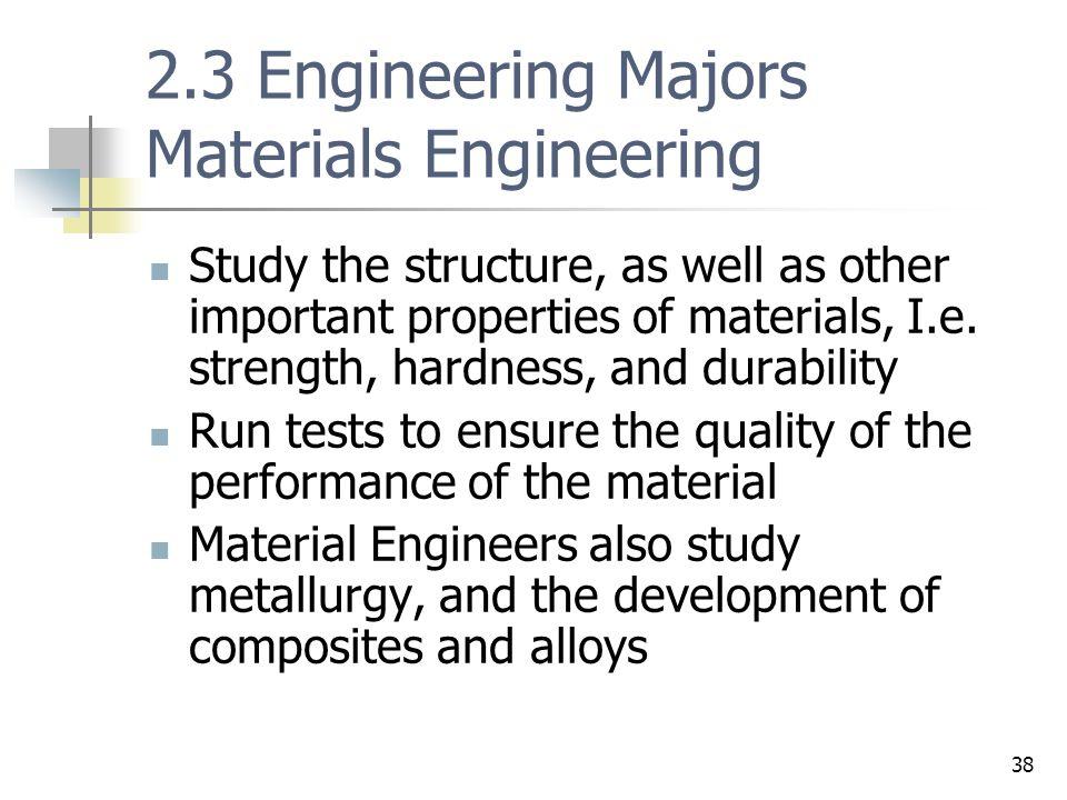 2.3 Engineering Majors Materials Engineering