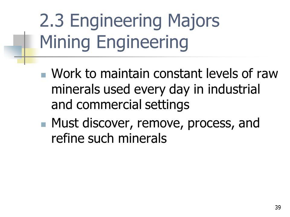 2.3 Engineering Majors Mining Engineering