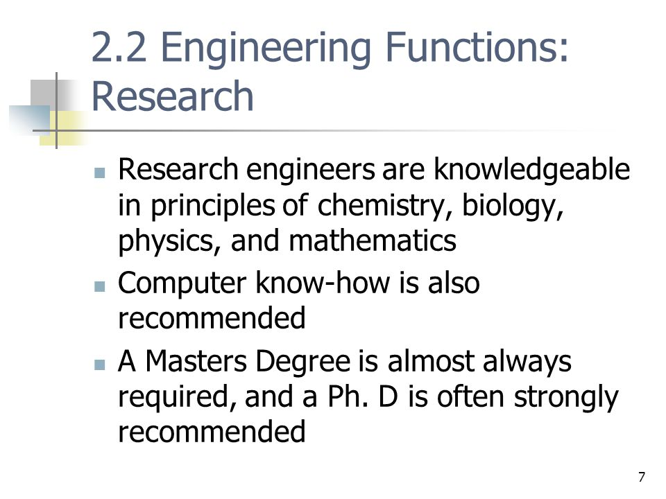 2.2 Engineering Functions: Research