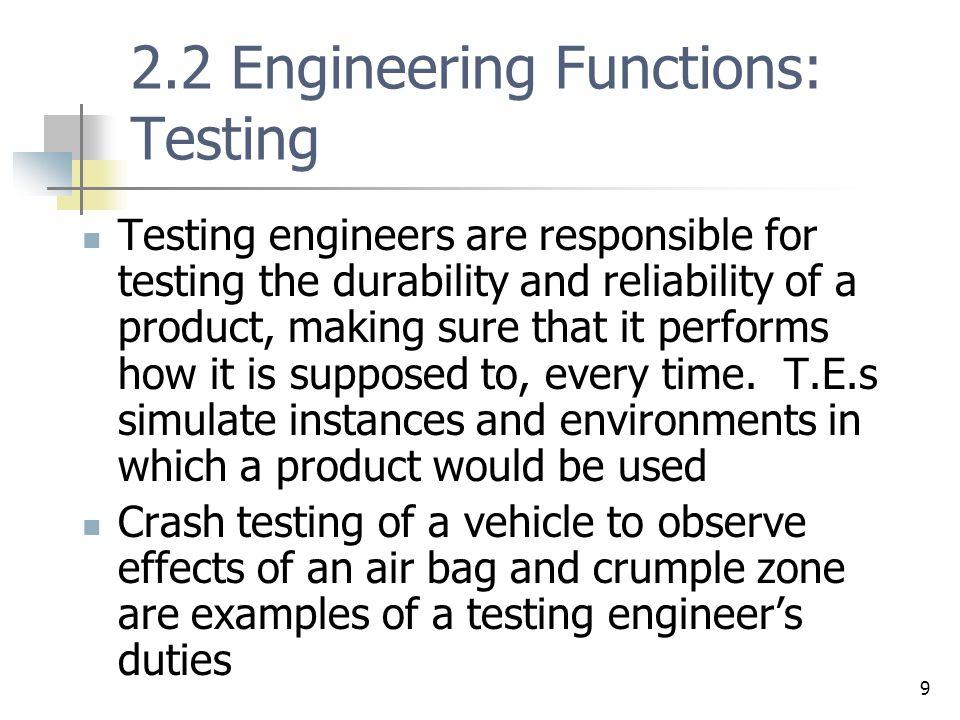 2.2 Engineering Functions: Testing