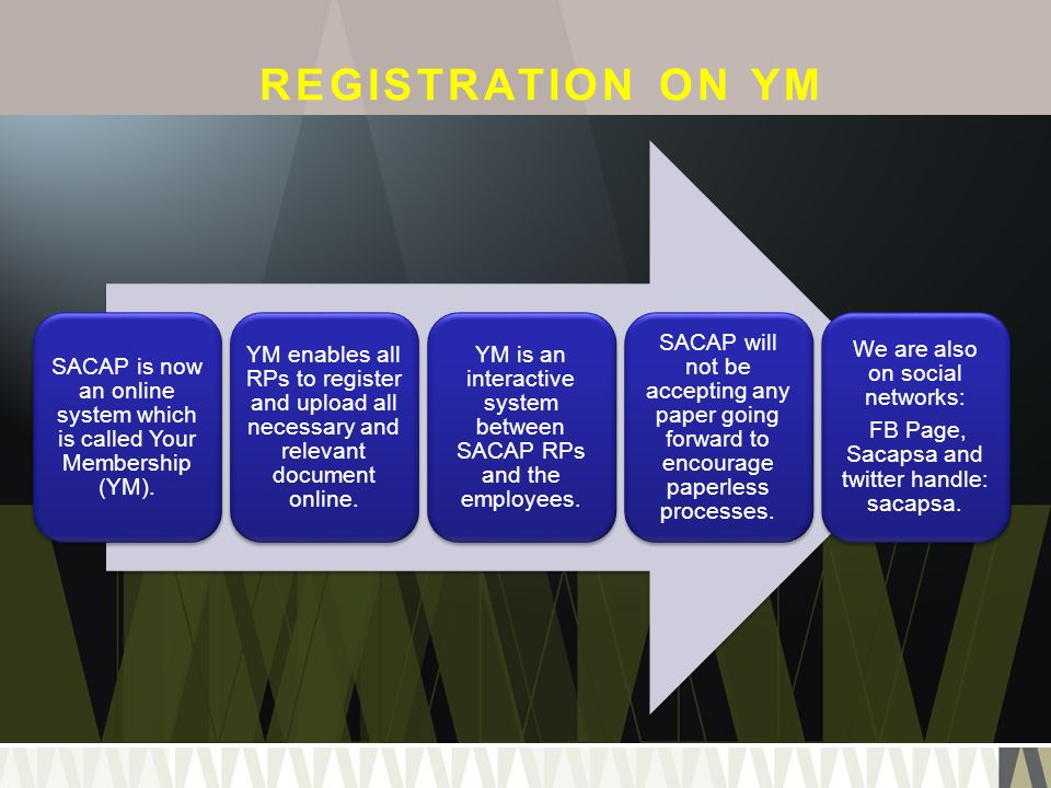 REGISTRATION ON YM SACAP is now an online system which is called Your Membership (YM).