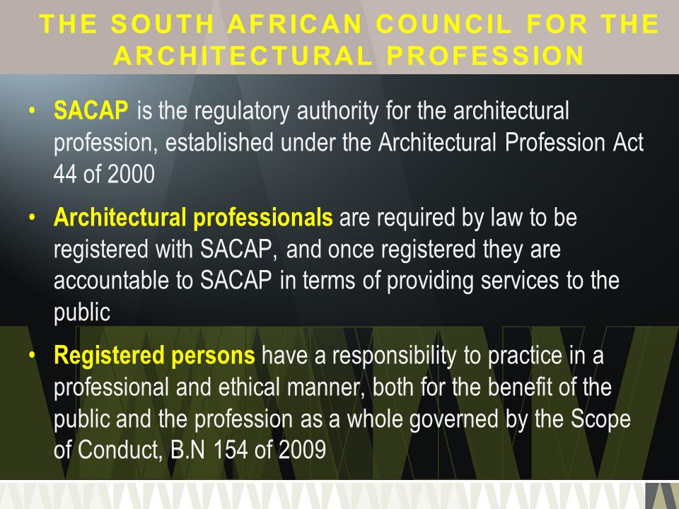 The South African Council for the Architectural Profession