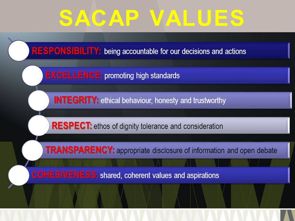 SACAP VALUES RESPONSIBILITY: being accountable for our decisions and actions. EXCELLENCE: promoting high standards.