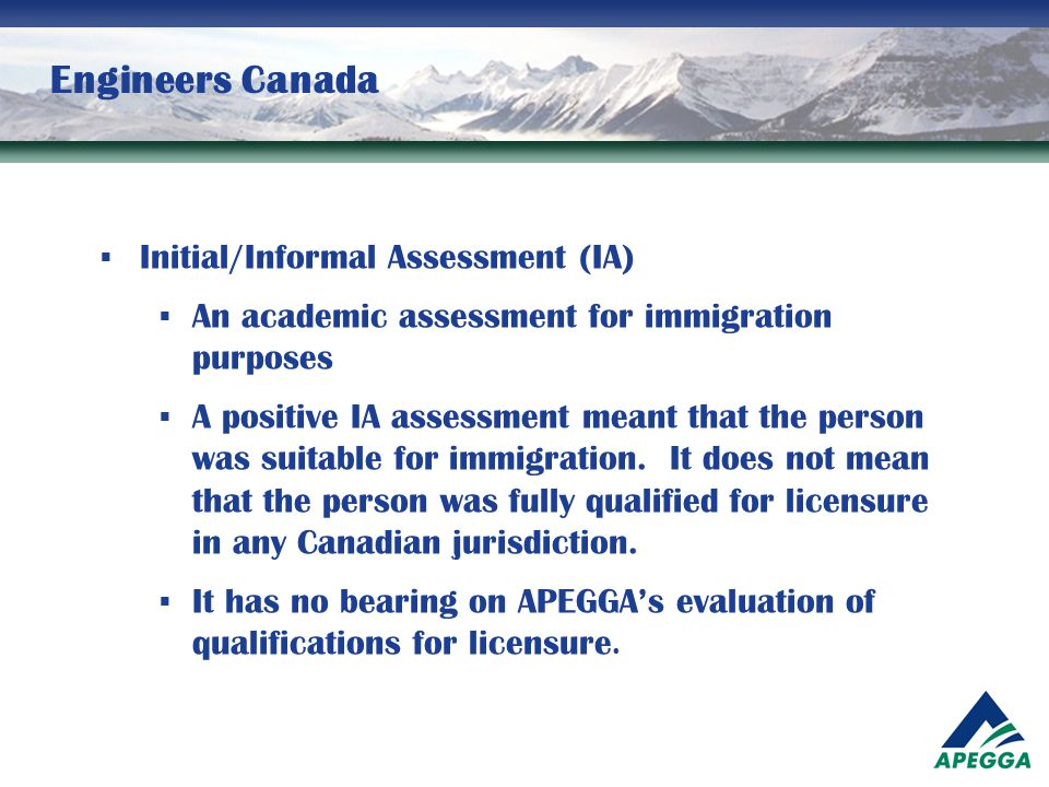 Engineers Canada Initial/Informal Assessment (IA)