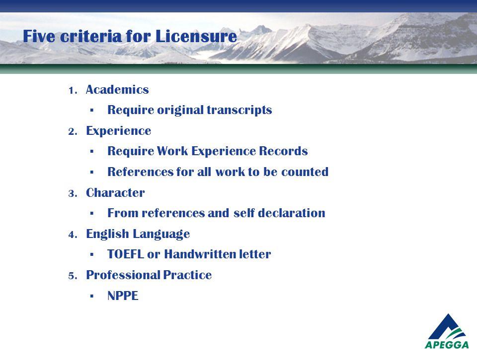 Five criteria for Licensure