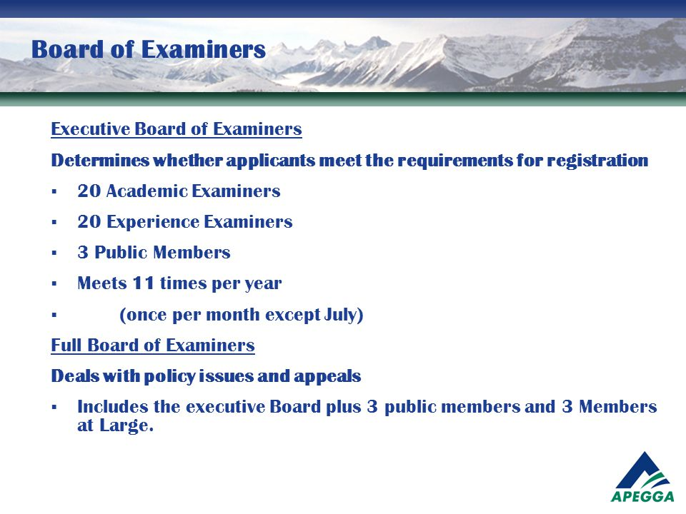 Board of Examiners Executive Board of Examiners