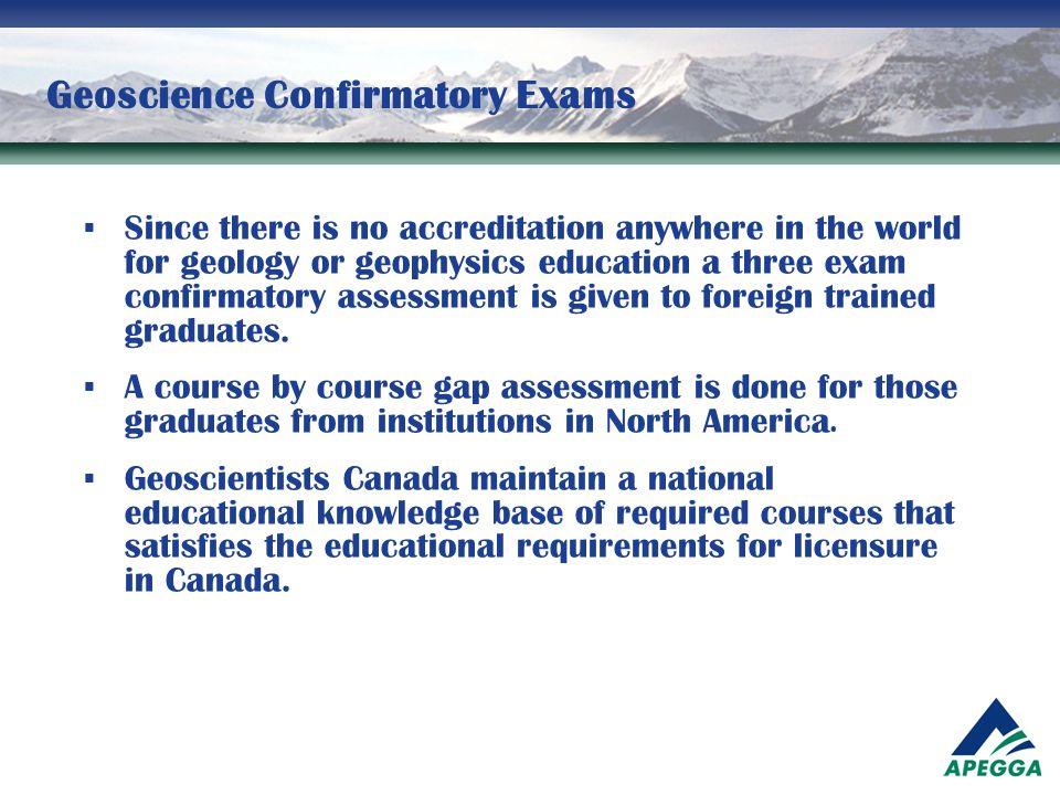 Geoscience Confirmatory Exams