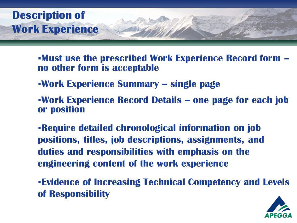 Description of Work Experience