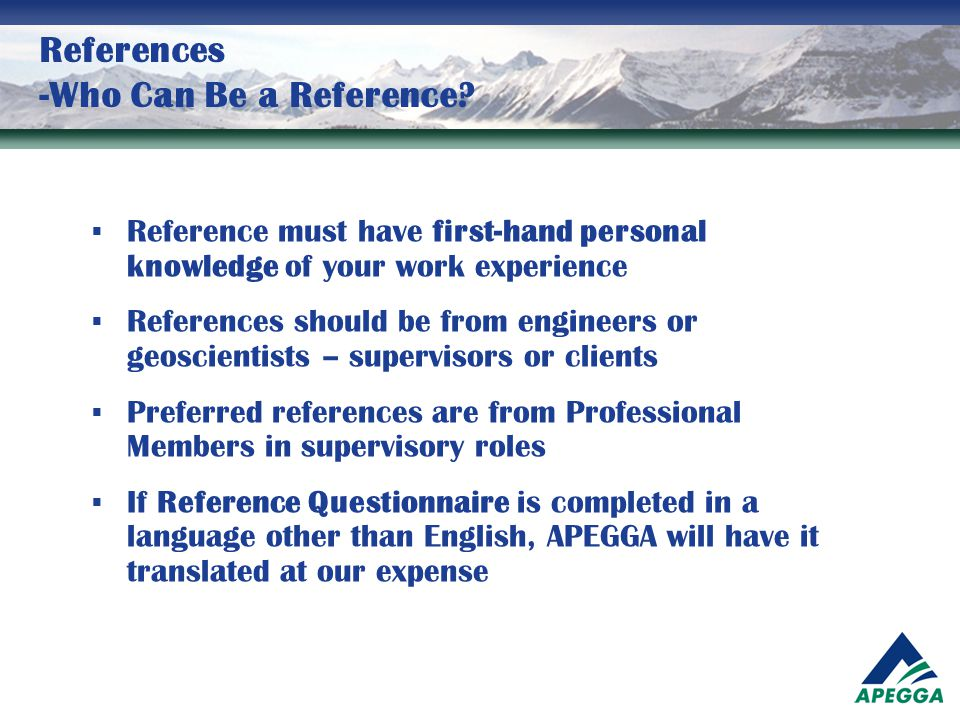 References -Who Can Be a Reference