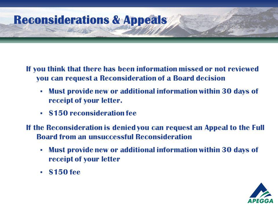 Reconsiderations & Appeals