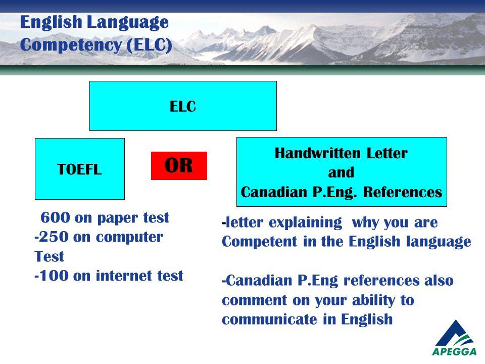 English Language Competency (ELC)
