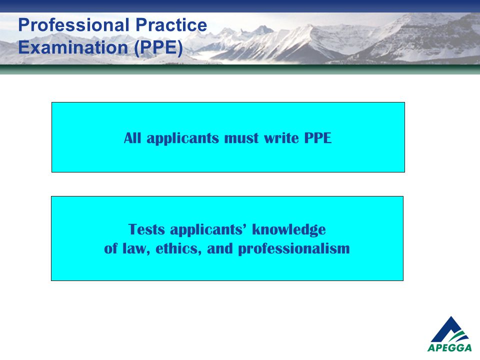 Professional Practice Examination (PPE)