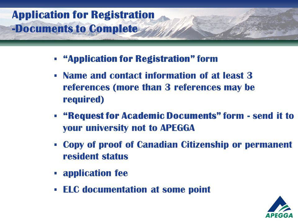 Application for Registration -Documents to Complete