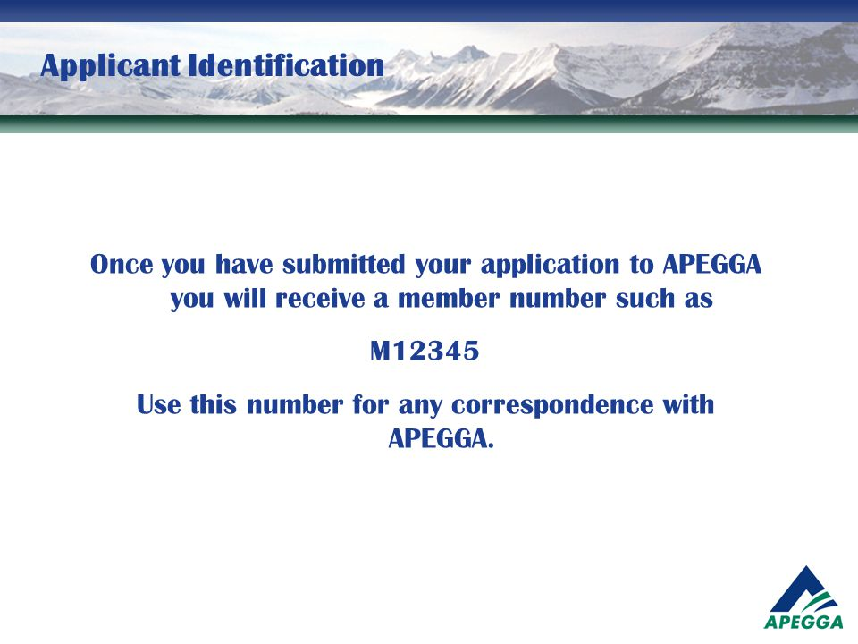 Applicant Identification