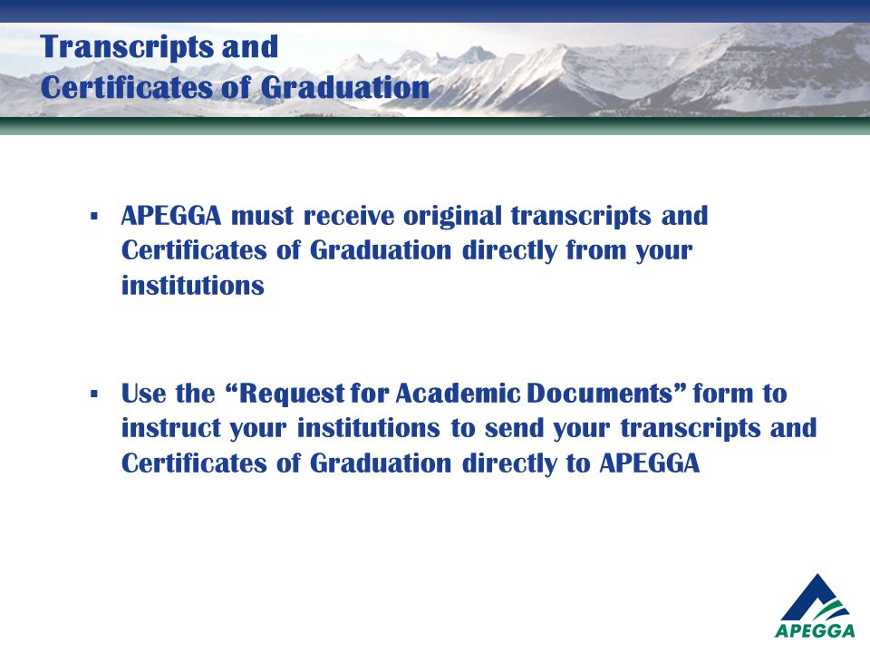 Transcripts and Certificates of Graduation