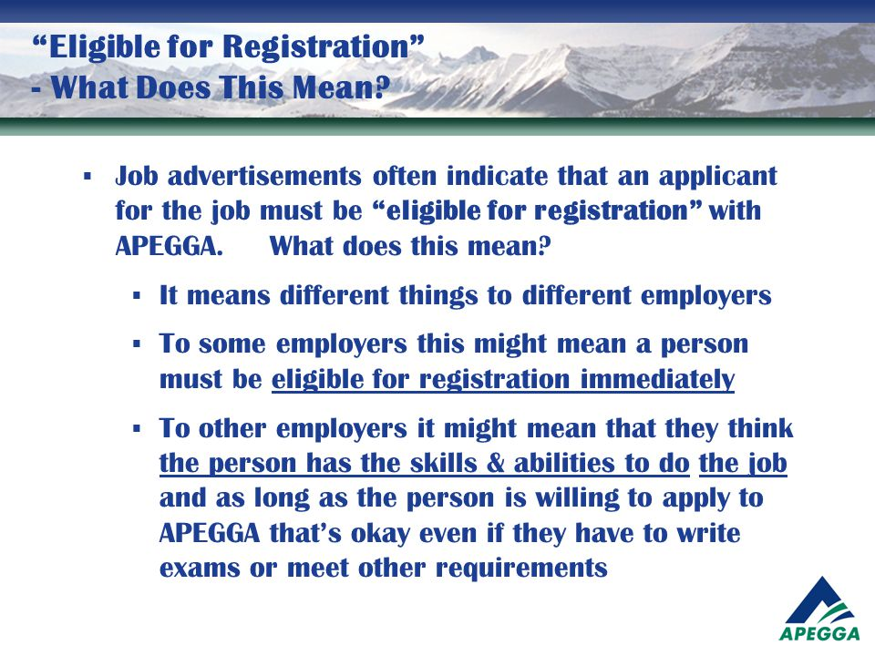 Eligible for Registration - What Does This Mean