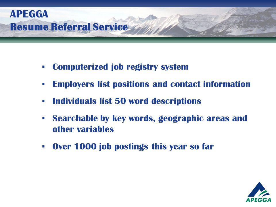 APEGGA Resume Referral Service