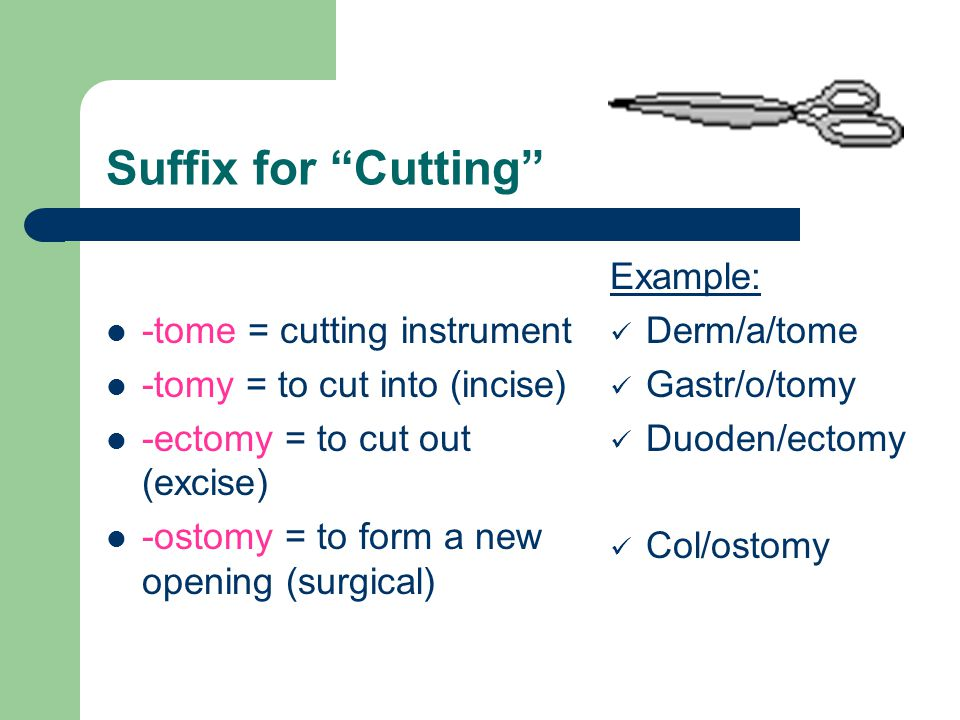 Suffix for Cutting -tome = cutting instrument
