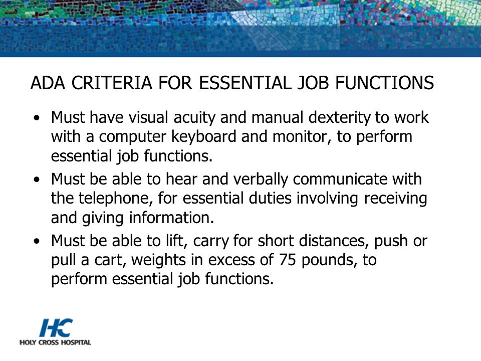 ADA CRITERIA FOR ESSENTIAL JOB FUNCTIONS