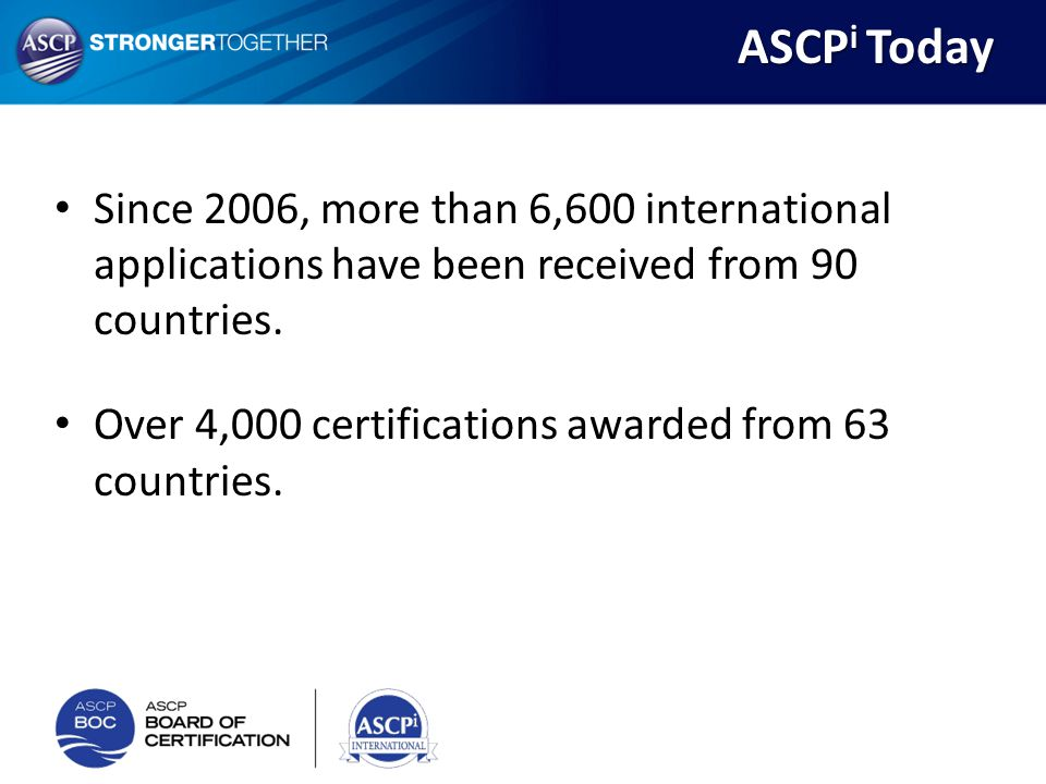 ASCPi Today Since 2006, more than 6,600 international applications have been received from 90 countries.