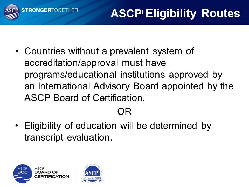 ASCPi Eligibility Routes