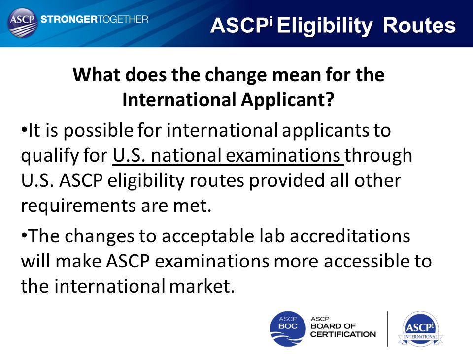 What does the change mean for the International Applicant