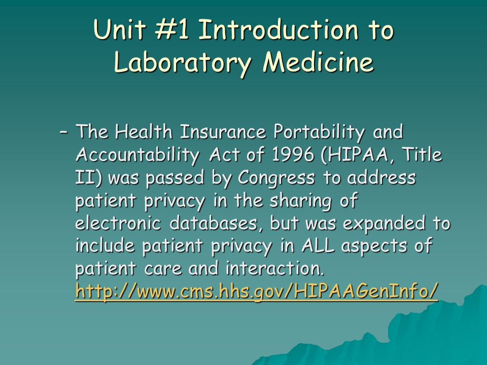 Unit #1 Introduction to Laboratory Medicine