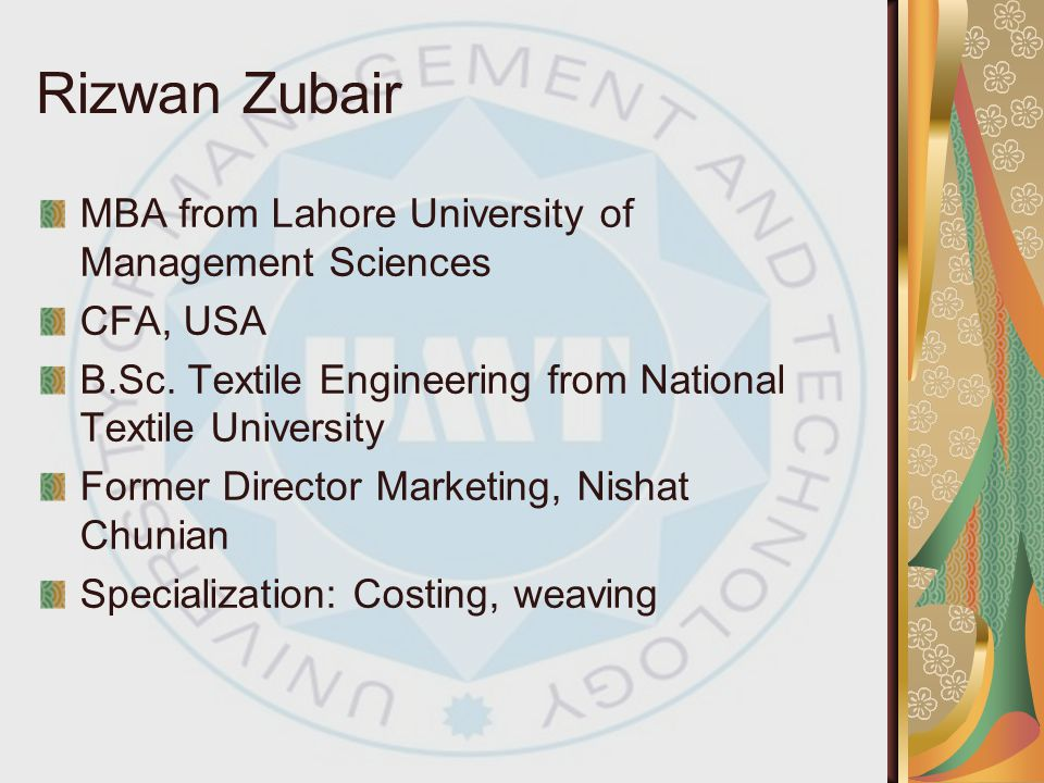 Rizwan Zubair MBA from Lahore University of Management Sciences