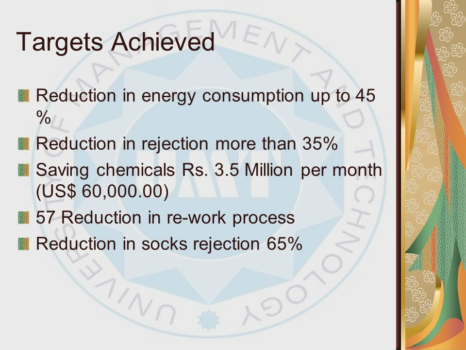 Targets Achieved Reduction in energy consumption up to 45 %