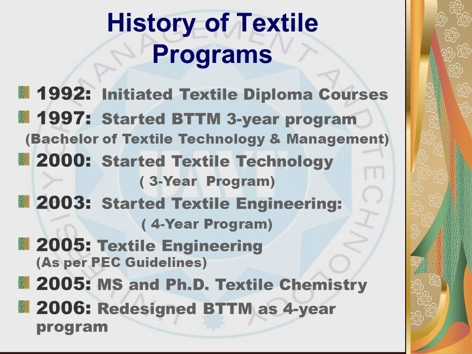 History of Textile Programs