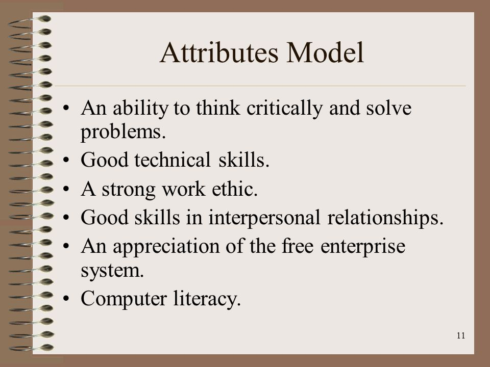 Attributes Model An ability to think critically and solve problems.