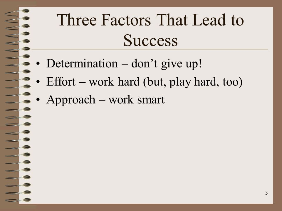 Three Factors That Lead to Success