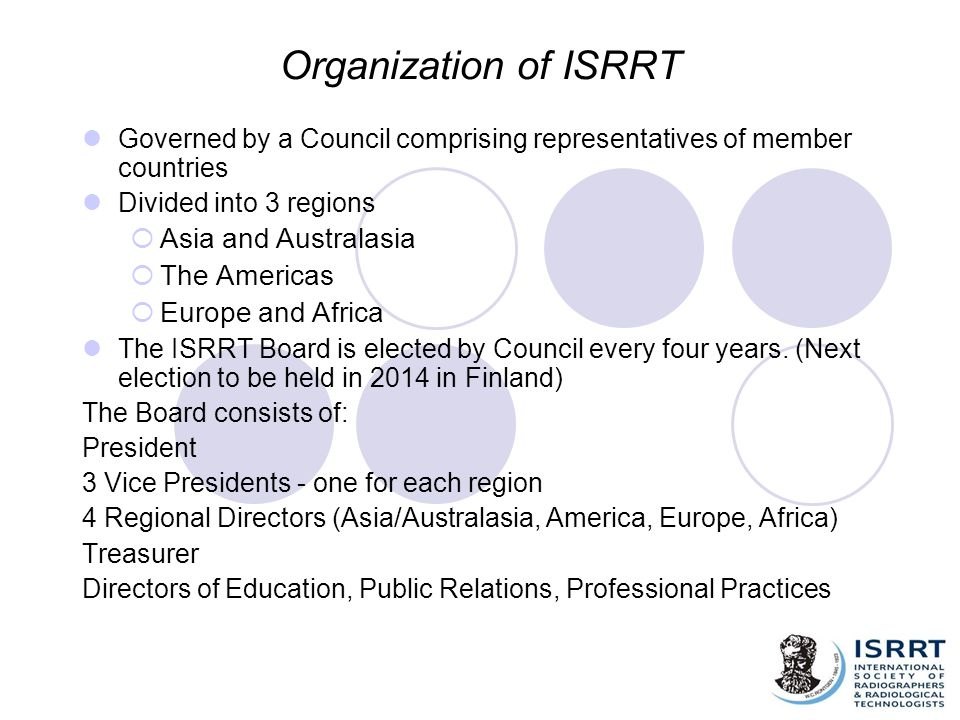 Organization of ISRRT Asia and Australasia The Americas