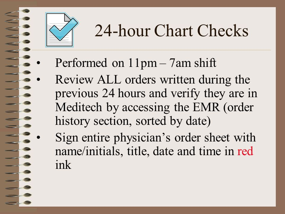 24-hour Chart Checks Performed on 11pm – 7am shift