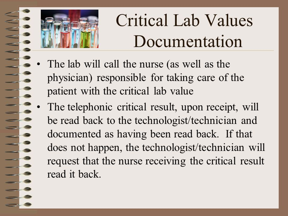 Critical Lab Values Documentation