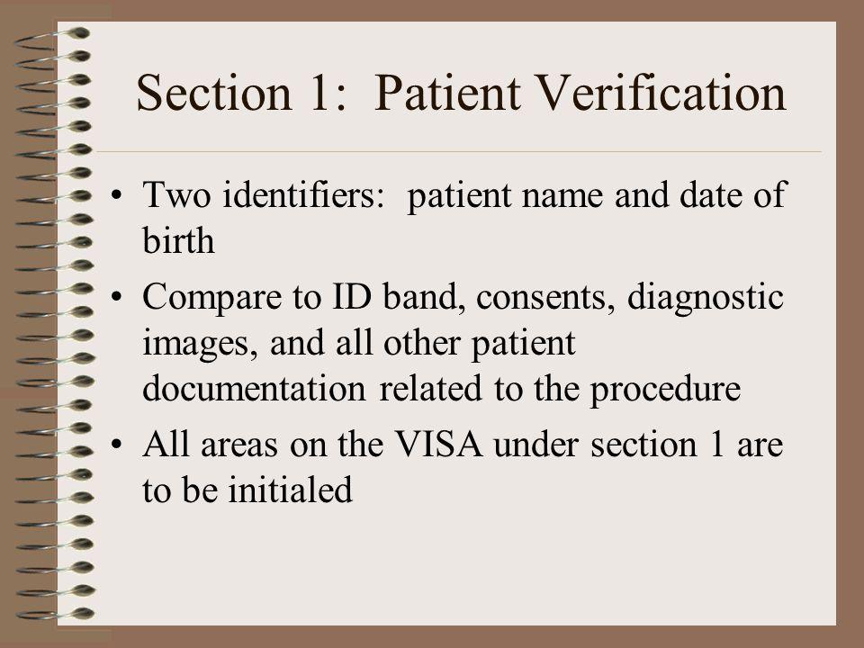 Section 1: Patient Verification