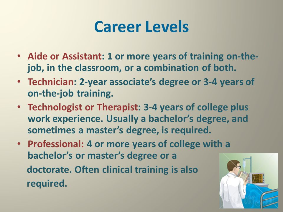 Career Levels Aide or Assistant: 1 or more years of training on-the-job, in the classroom, or a combination of both.