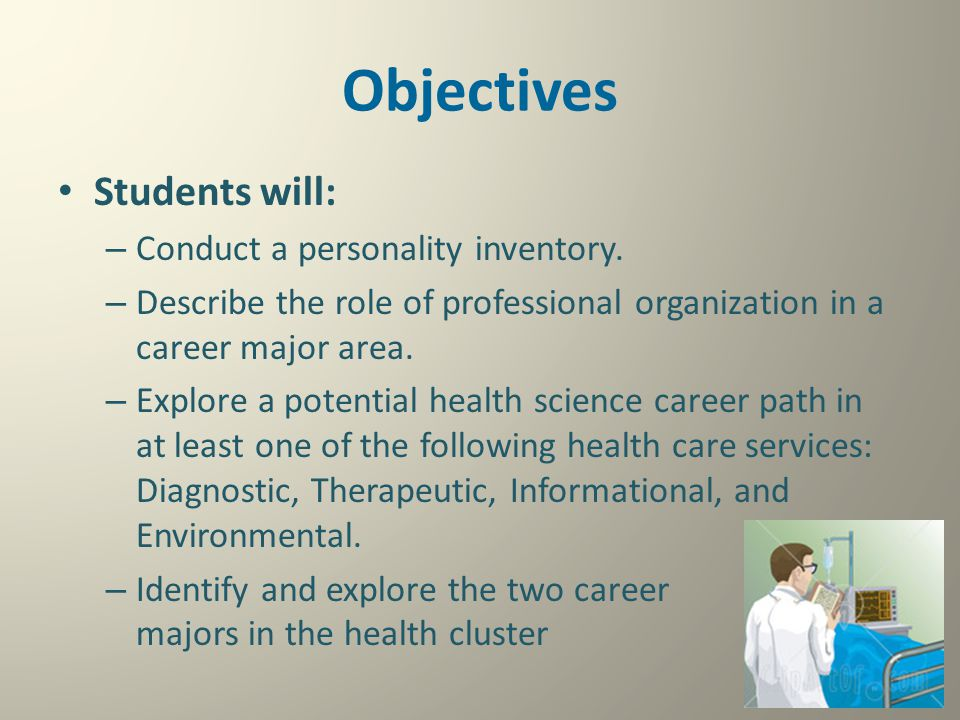 Objectives Students will: Conduct a personality inventory.