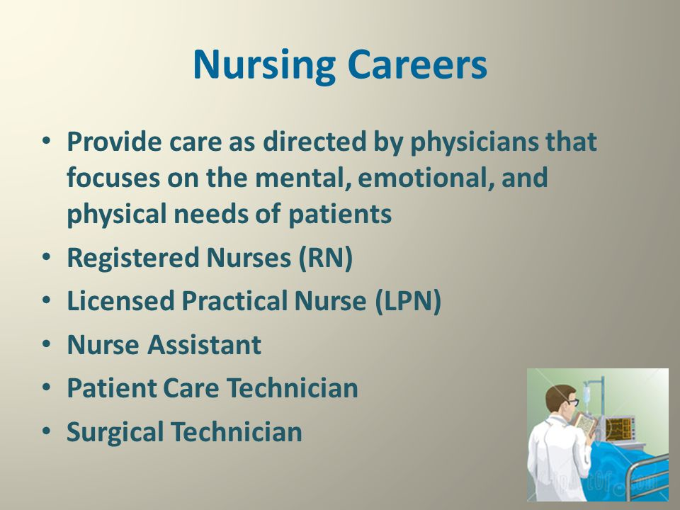 Nursing Careers Provide care as directed by physicians that focuses on the mental, emotional, and physical needs of patients.