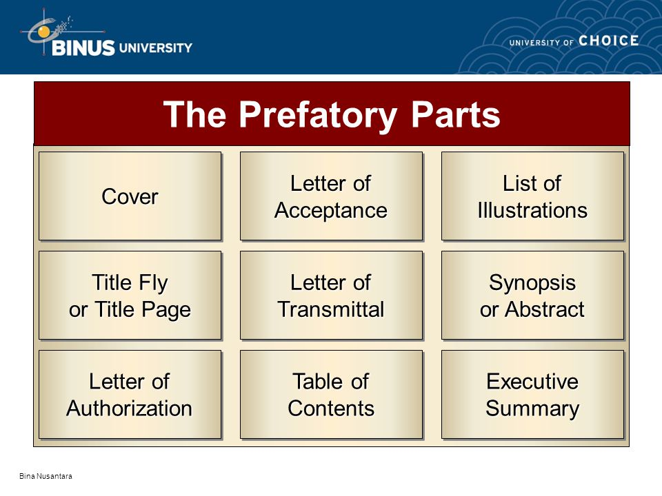 The Prefatory Parts Cover Letter of Authorization Title Fly