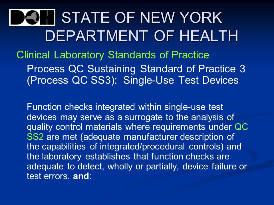 STATE OF NEW YORK DEPARTMENT OF HEALTH