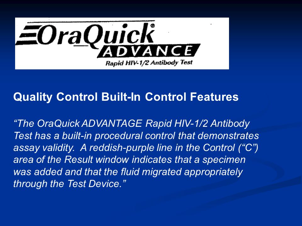 Quality Control Built-In Control Features