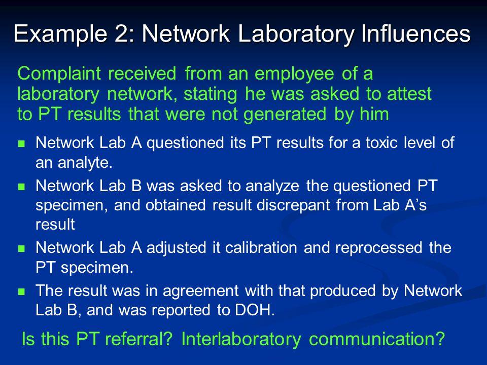 Example 2: Network Laboratory Influences