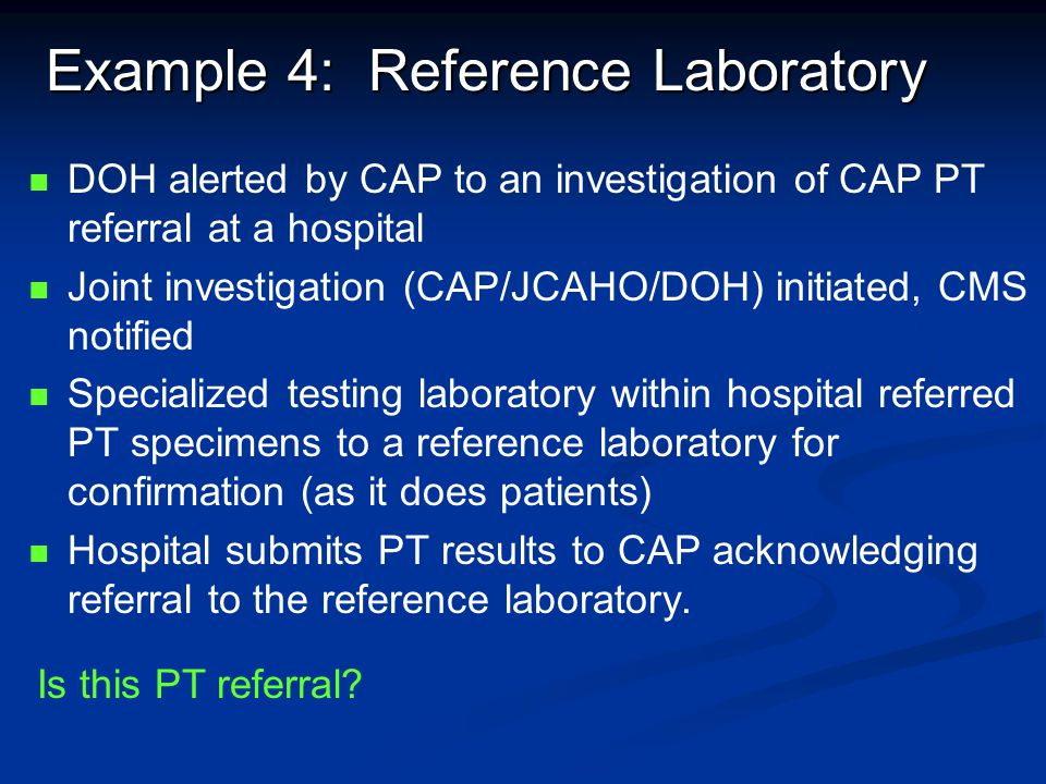 Example 4: Reference Laboratory