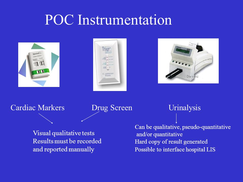 POC Instrumentation Cardiac Markers Drug Screen Urinalysis