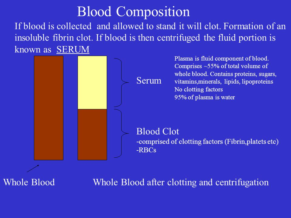 Blood Composition If blood is collected and allowed to stand it will clot. Formation of an.