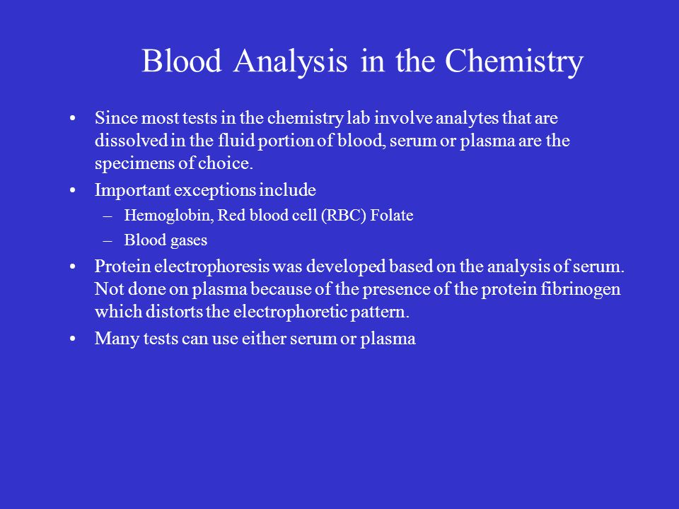 Blood Analysis in the Chemistry