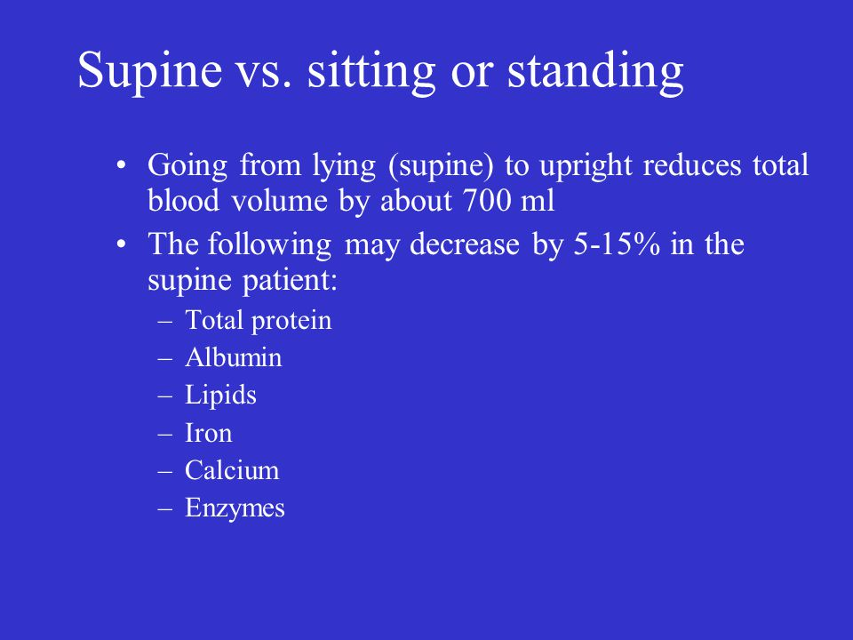 Supine vs. sitting or standing