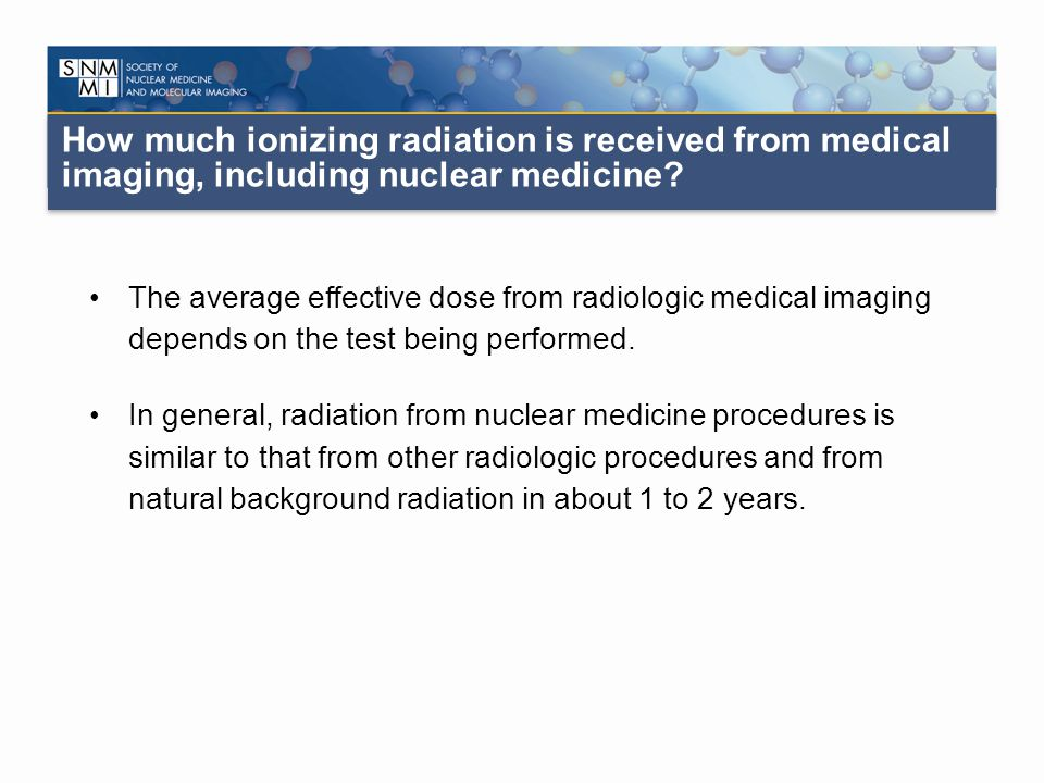 How much ionizing radiation is received from medical imaging, including nuclear medicine